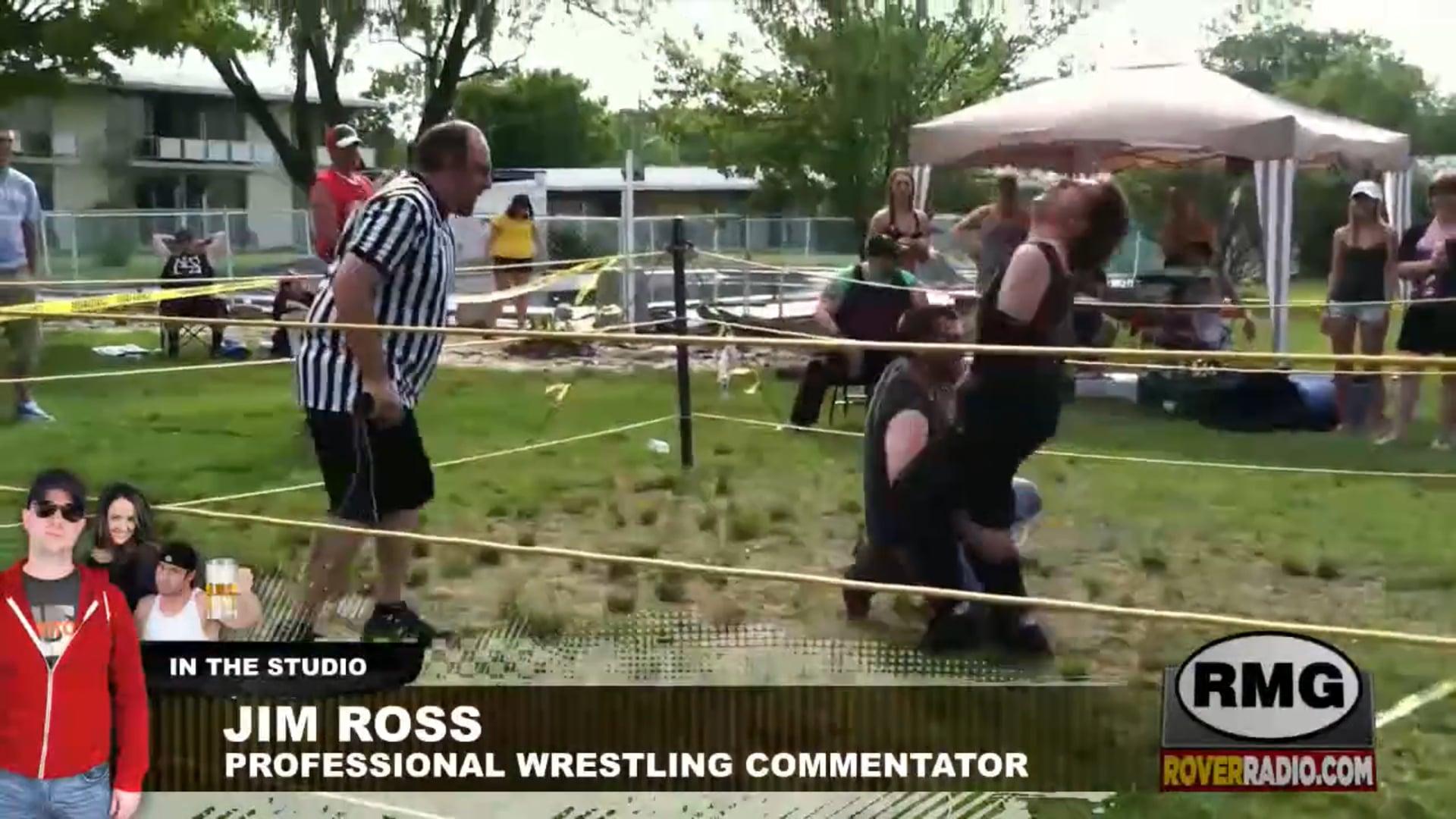Jim Ross provides commentary for Jeffrey's backyard wrestling